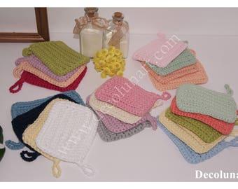 Lingettes démaquillantes écologiques zéro déchet  réalisées au crochet en coton recyclé