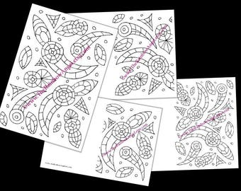 Printable Beverley Minster window design greeting cards  drawing to colour for doodle art and adult colouring