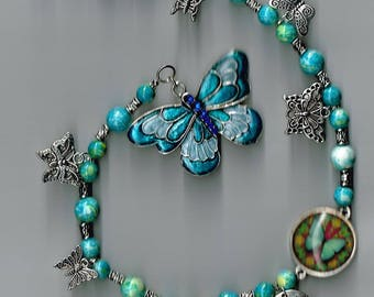 JEWELRY SUNCATCHER BUTTERFLY Luck Mirror Wall Window Jewelry Home Decor Beads Charms Gift 20 & Under Birthday Mom Friend Relative Thank You