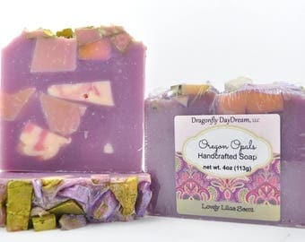 Handcrafted SOAP,OREGON OPALS, Lilac scented soap, Handmade Soap, Cold Process, Artisan Soap, Soap for Women, Floral Scented Soap, OO299