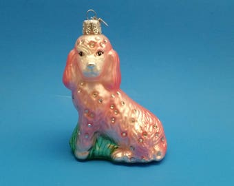 Bedazzled Pink Dog Glass Ornament by KSA, Kurt S. Adler Ornament