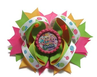 Shopkins Shoppies Twisted Hair Bow, Boutique Hair Bow, Birthday Bow, Birthday Gift, Back to School Hair Bow