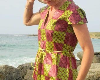 Burgundy and green Mauritanian fine cotton ethnic tunic