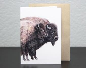 American Bison (Yellowstone) Wildlife Blank Greeting Card —Portrait