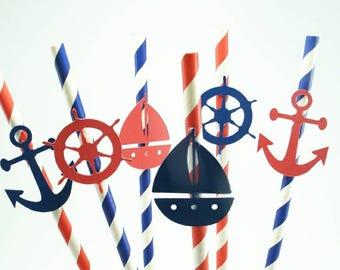 Nautical Straws, Nautical Baby Shower, Nautical Baby Shower Decorations, Ahoy it's a Boy, Nautical Decorations, Boy Baby Shower Ideas