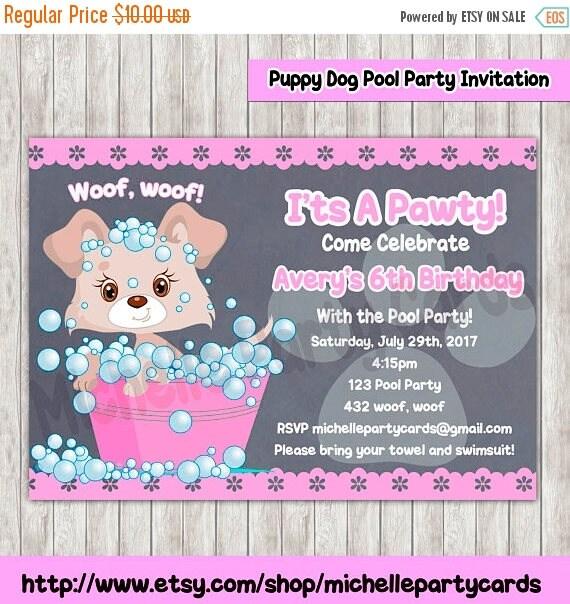 50 Off Puppy Dog Pool Party Invitation birthday party dog – Puppy Party Invitation