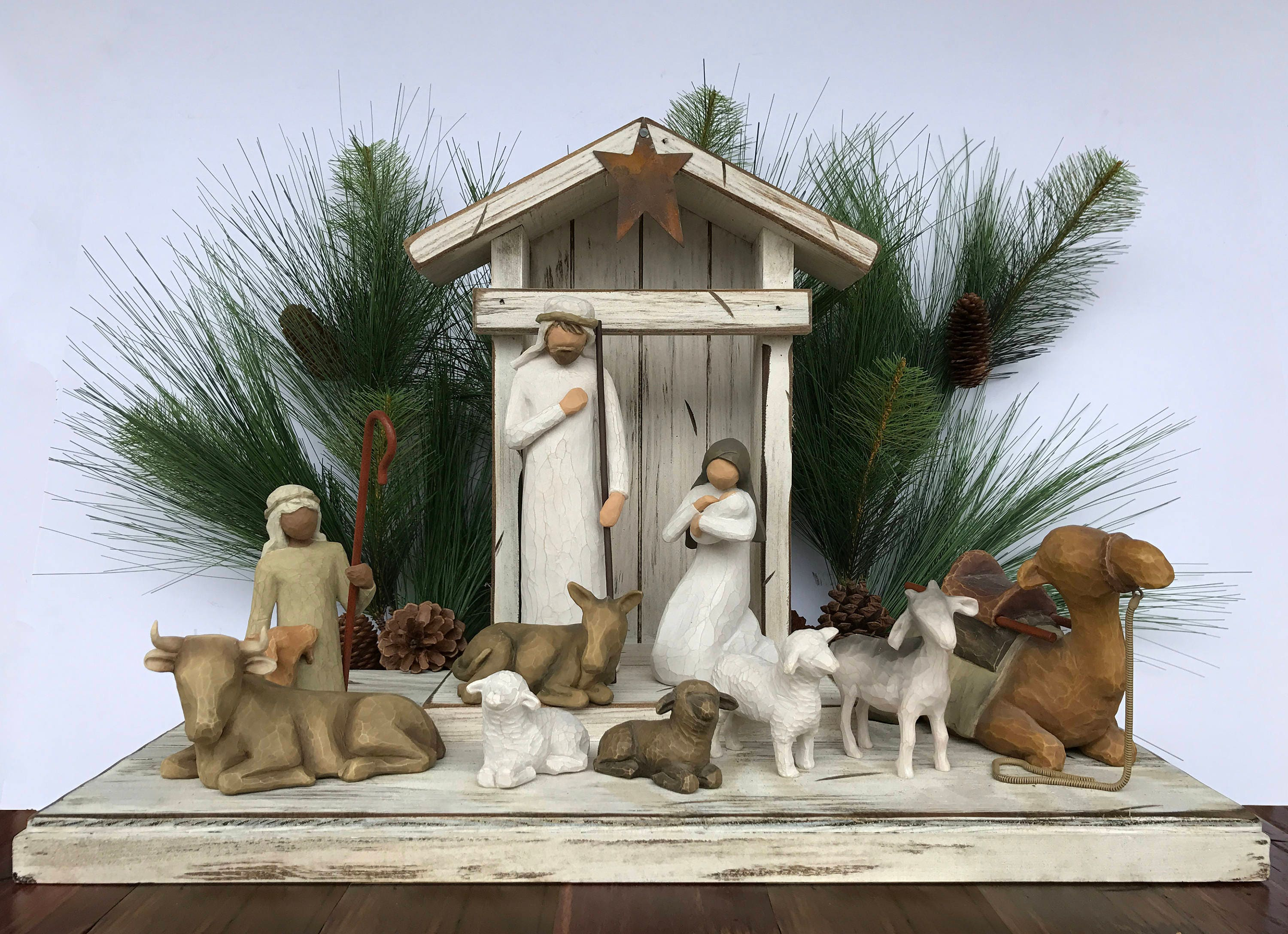 Stable Creche For Demdaco Willow Tree Angels Nativity