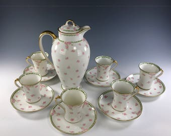 CHARLES FIELD HAVILAND Chocolate Set   Pot and 6 Cups with Saucers   Pink Roses Decoration