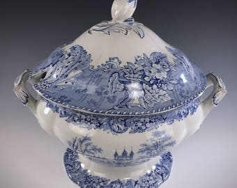 ENGLISH STAFFORDSHIRE | Blue And White Castles Transferware | Soup Tureen