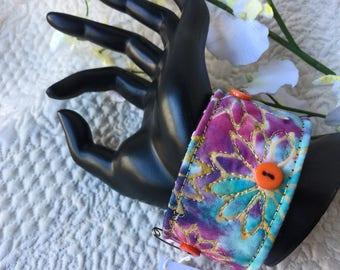 """Wrist cuff 8"""", fiber art bracelet, art to wear cuff, textile art cuff, fiber jewelry, Cuff bracelet, OOAK, Wearable wrist cuff art  #40"""