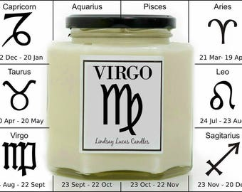 Virgo Candle, Gift For A Virgo, Horoscope Candle, Horoscope Gift, Zodiac Candle, Zodiac Gift, Virgo Gift, Scented Candle, Candle For Virgo