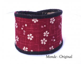 Red textile bracelet - black with Japanese fabric and leather