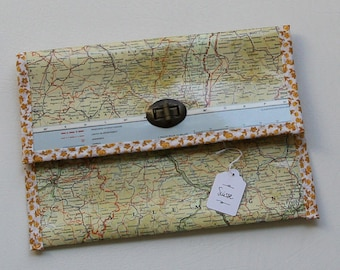 """""""Switzerland"""" edge with yellow flower paper and fabric pouch"""