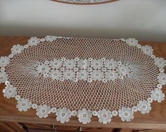 Antique knitted crochet hood, fine workmanship 1920s