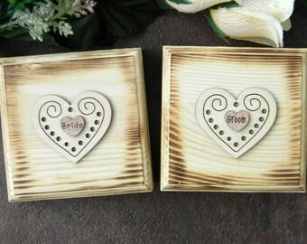 Set of 2 Rustic Ring Bearer Box, Bride and Groom Ring Bearer Pillows, Filigree Heart Ring Box, Set of Two Ring Bearer Boxes, Ring Bearer Box