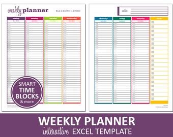 Dynamic Weekly Planner | Printable Excel Planner Template | Weekly Schedule | Printable Excel Template | Instant Digital Download