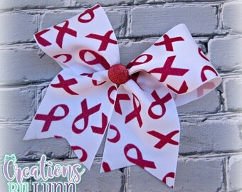 Breast Cancer Awareness Glitter Cheer Bow