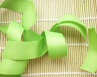 Ribbon grosgrain green neon 25 mm, sold individually 2 m.