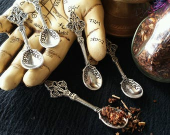 Incense Spoons, Tiny Spoon, Silvery Spoons, Spoon Charm, Witches Spoon, Herb Spoon, Witchcraft, Wicca, Witchy Things, Charm, Cute Spoon