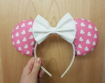 Pink and white heart mouse ears