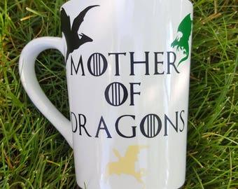 Mother of dragons mug/mother of dragons/khaleesi mug/targaryen mug/house targaryen/game of thrones mug/got7/game of thrones gift/danaerys