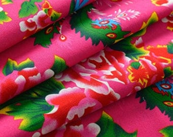 Traditional Chinese Fabric Peony Pink 0.5m