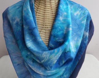silk scarf stylized blue, cuivre@evysoie headband