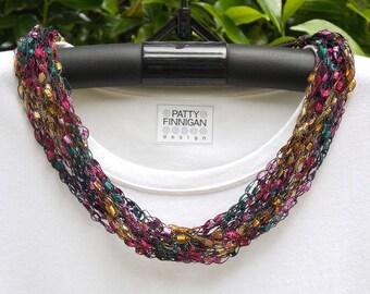 Crochet Ladder Yarn Necklace, Autumn Jeweltones