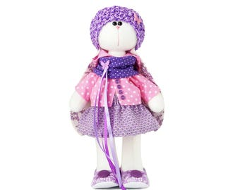 Easter bunny, Plush rabbit toy, gift for girl, fabric doll. In stock in the USA