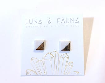 White and Gold Earrings - Square - Stud Earrings - Gold