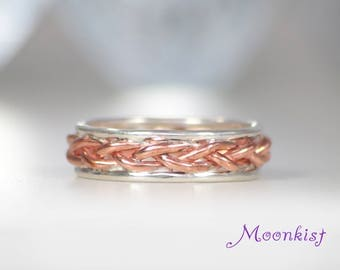 Copper Braid Band with Rails in Sterling, Silver and Copper Wedding Band, Unique Engagement Wedding Band, Mixed Metals Band