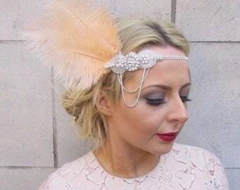 Champagne Light Peach Silver Feather Headpiece 1920s Headband Flapper 1930s 4278
