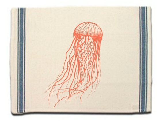 Jellyfish Kitchen Towel|Dish Towel| Tea Towel| Flour Sack Material|Sea Life Dish Towel|Flour Sack Kitchen Towel|Dish Cloth