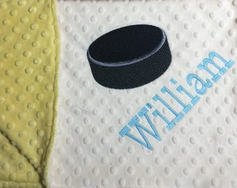 Hockey Theme Blanket Hocky Puck Monogram Baby Blanket Hockey Nursery Hockey Baby Blanket Hockey Baby Gift Baby Blue Ivory Yellow Blanket