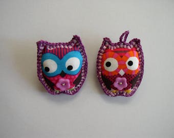 brooch and fabric purple owls key ring and flower button