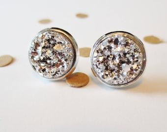 Silver Druzy Stud Earring, Silver Earring, Nickle Free, Nickle Free Stud, Stud Earrings, Druzy Earrings, Silver Nickle Free Studs