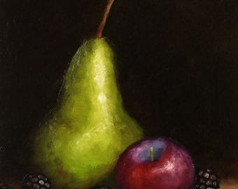 Pear, plum and blackberries Original Oil Painting still life by Jane Palmer