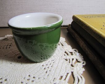 Small Hall - No. 351 1/2 Individual Custard Dish - Green and White - Restaurant Ware