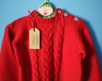 Braided sweater for children 18/24 months in pure red merino wool knitted with braids