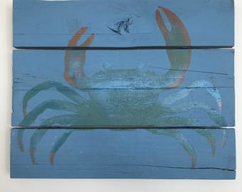 Metallic Maryland Blue Crab Sign // Custom // Gifts for Her // Gifts for Him // Wedding // Pallet // Maryland // Beach // Bay // Crab Sign