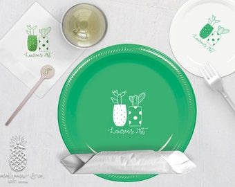 Cactus Party   Plates, Napkins or Cups Stir Sticks   Birthdays, Weddings, Engagement Bridal Parties and Baby Showers   social graces and Co
