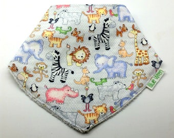 Stylish Bandanna Baby Bib to Catch the Dribble, Zoo Animals on Cotton Fabric, So Soft Bamboo Toweling Backed, Snap Fastened, Adjustable.