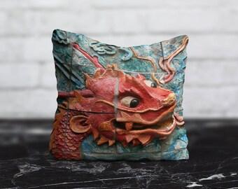 Red Dragon Pillow Living Room Cushion Cover Tile PillowCase Animal Throw Pillow Cover Silk Pillow Satin Pillow Luxury Home Decor Dad Gift