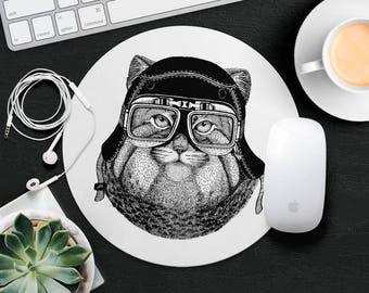 Cat Mouse Pad Animal in Glasses Cute Mouse Mat Funny Mouse Pad Gift Kids MousePad Hipster Mouse Mat Desk Accessories Animal Lover Gift Cat