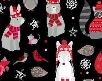 Holiday Fabric, Christmas, Winter Fabric, Snow Delightful by Studio E Fabrics in Black, Cotton, 1 Yard