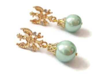 Vintage Pearl Earrings - Vintage Gold Earrings - Gold And Pearl Earrings - Pearl Dangle Earrings - Gold Dangle Earrings - Gold Dangle Pearl