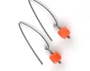 Orange Earrings for Women - Carnelian Earrings - Gemstone Earrings for Women - Sterling Silver