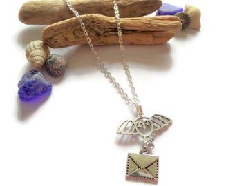 harry potter gift, owl necklace, envelope necklace, hedwig necklace, hogwarts necklace, fan gift, potter necklace, potter jewelery