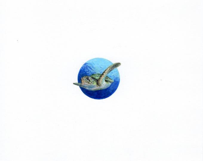 Print of Miniature painting of a Sea Turtle. tiny painting Sea Turtle art 5 x 5