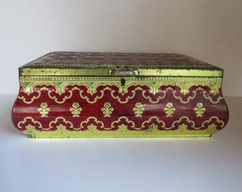 """Large vintage tin metal box in red and gold - marked IMPERIAL - made in Belgium - H x W x W  / 4.25 x 13 x 8.5 """"  /  11 x 33 x  22 cm"""